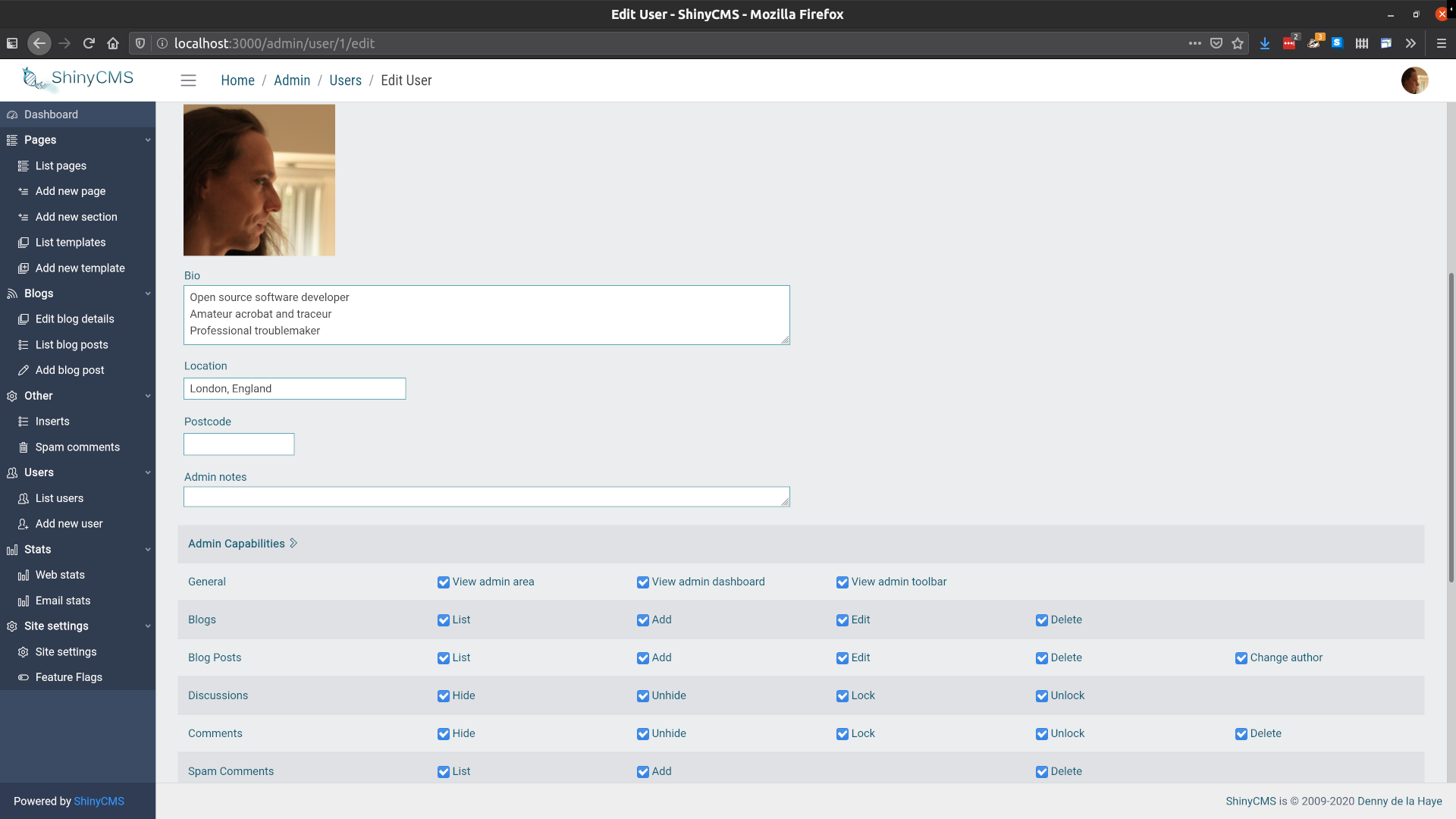 Screenshot of ShinyCMS admin area